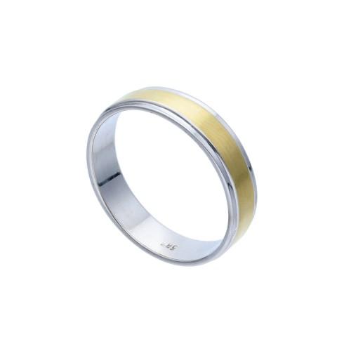 bicolor Ehering / Trauring aus hochwertigem 585 Weißgold und Gelbgold - Größe 53