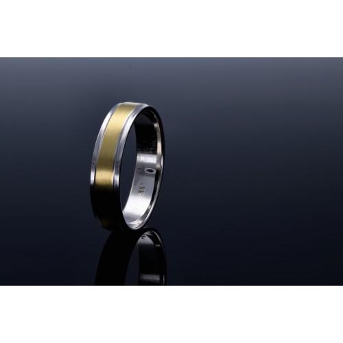 bicolor Ehering / Trauring aus hochwertigem 585 Weißgold und Gelbgold - Größe 54