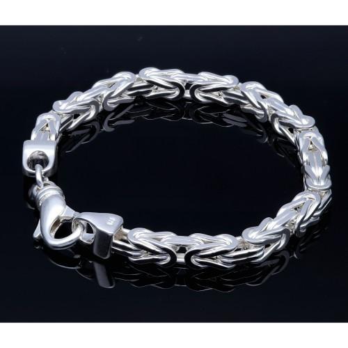 Massives Königsarmband aus 925er Sterlingsilber (42 g, 21,8 cm Länge, 5,8 mm Breite)