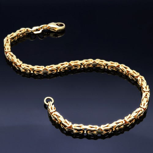 Massives Königsarmband aus Gold (585er 14k Gold), ca. 3,3 mm Breite, ca. 22cm lang, ca. 14g  -  mit FBM Stempel