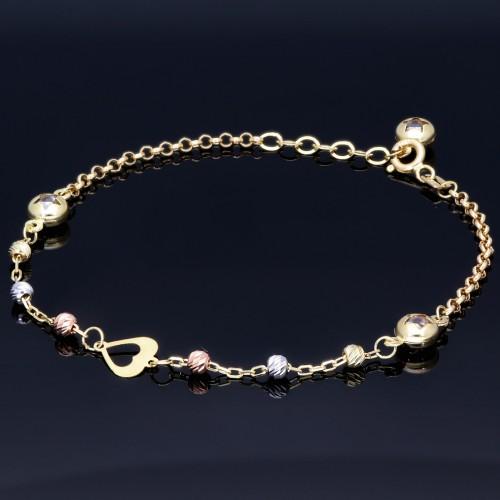 verspieltes Tricolor Herz - Armband aus 585 14K Gold in (ca. 19,6 cm Länge)