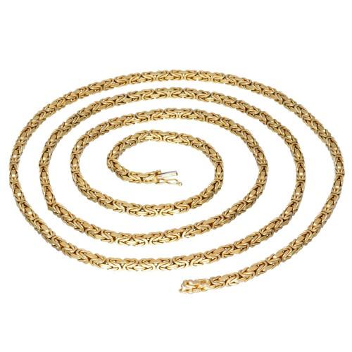 Ultralange massive Königskette aus 585er Gelbgold (14k)- 90cm lang, 4 mm breit, 63g
