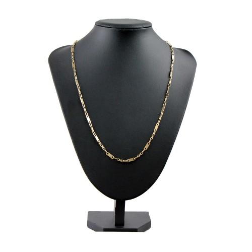 sehr schlanke Plättchenkette, Steigbügelkette aus 585er (14k) Gold - 64 cm Länge, 4 mm Breit