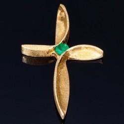 Kreuzanhänger für Damen mit kleinem runden Smaragd aus 18k 750er Gelbgold