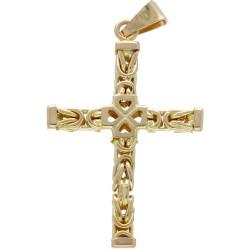 Kreuzanhänger aus 585er (14K) Gold passend zu einer Königskette bis 3mm Stärke