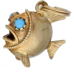 Kugelfisch-Goldanhänger für Damen (585er Gold 14k) mit großer Öse