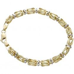 Goldenes bicolor Königsarmband (585er 14k), 5mm breit, 20cm lang