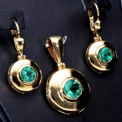 Exklusives kolumbianisches Smaragdschmuckset in 750er Gold 18k (Ohrringe + Anhänger)