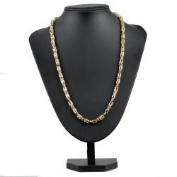 Goldene bicolor Königskette (585er 14k), 7mm breit, 60cm lang