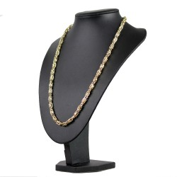Goldene bicolor Königskette (585er 14k), 7mm breit, 65cm lang, ca. 22g