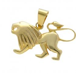 Goldener Löwen-Anhänger in 585er (14k) Gelbgold - modernes Design