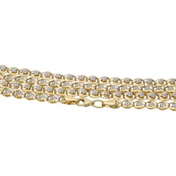 Damen-Designerkette in 585 (14k) Gelb- und Weißgold ca. 55 cm Länge