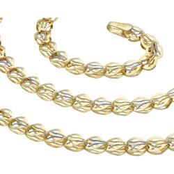 kurze Damen-Designerkette in 585 (14k) Gelbgold und Weißgold ca. 49 cm Länge