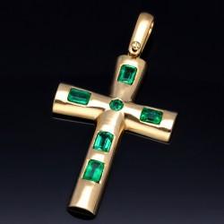 Handarbeit: Kreuzanhänger mit 6 dunkelgrün leuchtenden kolumbianischen Smaragden aus 750er 18k Gold
