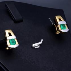 1 Paar handgearbeitete bicolor Smaragd-Ohrringe aus 750er (18k) Gold