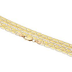 Feine bicolor-Goldkette in 50 cm Länge aus Gelbgold und Weißgold 585 (14k)
