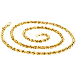 schöne Kordelkette aus Gelbgold für Damen in 50 cm Länge aus 585er Gold (14k)