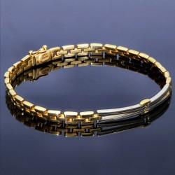 massives bicolor Goldarmband aus 14k 585 Gelbgold und Weißgold in 20 cm Länge
