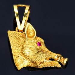 Wildschwein-Goldanhänger (585er Gold 14k)