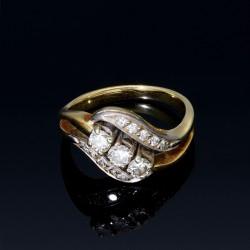 traumhaft schöner Designerring für Damen aus 585 Gold mit Brillanten besetzt (14K) Größe 53