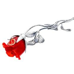 einzigartige, exklusive rote Rose - aus Sterling-Silber und Original Murano-Glas-Blüten