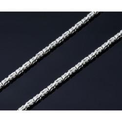 massive, diamantierte 925 Sterling-Silber Königskette (20g, 60,8cm Länge, 2,3mm Breite)