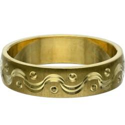 feiner mit filigranem Muster verzierter Designer-Ring - Größe 48-49 aus 585 Gelbgold (14K)