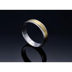 bicolor Ehering / Trauring aus hochwertigem 585 Weißgold und Gelbgold - Größe 63