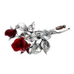 elegante, rote Ansteckrose - Reversnadel aus 925er Sterling-Silber und Rosenblüten aus Original italienischem Murano-Glas