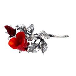 einzigartige Reversnadel - Rose aus 925er Sterling-Silber und Rosenblüten aus Murano-Glas. Made in Italy