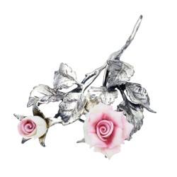 hochwertige Reversnadel für Gentlemen - Rose aus 925er Sterling-Silber und Rosenblüten aus Murano-Glas. Made in Italy