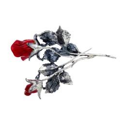 aufsehenerregende Ansteckblume - edle Brosche aus 925er Sterling-Silber und Rosenblüten aus Murano-Glas