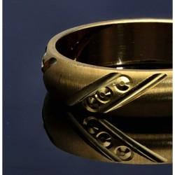 edler Designerring mit filigranem, einfach, strukturiertem  Muster für Damen - Größe 51 aus 585 Gelbgold (14K)