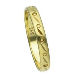 Designerring für Damen mit stilvollem Dekor - Größe 65 aus 585 Gelbgold (14K)