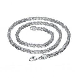 Massive Königskette aus 925er Silber (55 cm Länge, 48g, 4mm Breite, vierkant)
