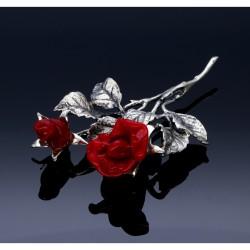 stilvolle, exquisite, rote Rose aus 925er Sterling-Silber und Rosenblüten aus Original Murano-Glas. Made in Italy.