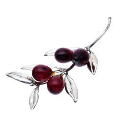 dekorativer Olivenzweig aus 925er Sterling-Silber und Oliven aus Murano-Glas