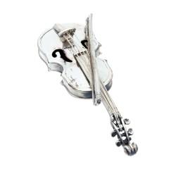kunstvolles, exzellent angefertigtes Modell einer antiken Miniatur - Violine aus massivem 925er Silber aus dem 20. Jahrhundert - Original Vittorio Angini