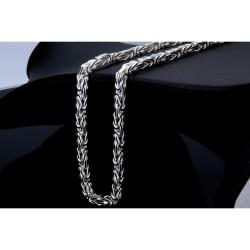 Massive Königskette aus 925er Silber (55 cm Länge, 69g, 4,8mm Breite, vierkant)