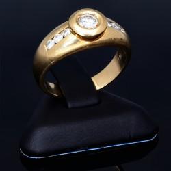 hochwertiger Damenring mit strahlenden Brillanten besetzt aus 585er 14 Karat Gelbgold Größe 54