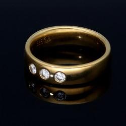 Brillantring, klassisch, elegant für Damen aus 585er 14 Karat Gelbgold Größe 55-56