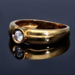 hervorragend verarbeiteteter Brillantring aus hochwertigem 750 Gelbgold 18 Karat - Größe 54-55