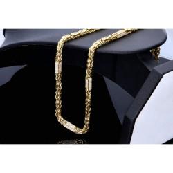 Bling-Bling-Königskette mit Zirkoniabesatz aus 585er Gelbgold (14k)- 55cm lang, 4,5 mm breit, 26g