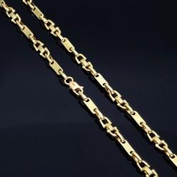 Extralange Plättchenkette Steigbügelkette 585 Gold 14K 5,5mm breit, 34g, 71,5cm