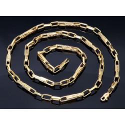 Designer-Ankerkette im Greco-Stil aus 585er Gelbgold (14k)- 64,5cm lang, 4,5 mm breit, 11,4g