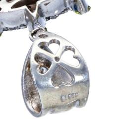 massiver, glassteinbesetzter Jesus -Anhänger aus Sterling Silber 925