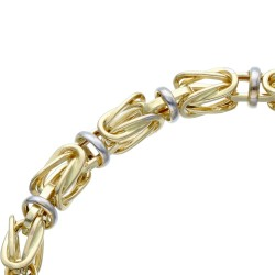 Goldenes bicolor Königsarmband (585er 14k), 5mm breit, 23cm lang