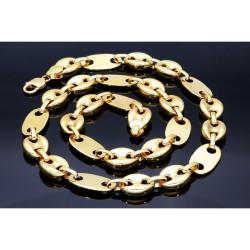 XXL Bohnen-Plättchenkette aus 585er (14 Karat) Gelbgold (ca. 95g, 68 cm)