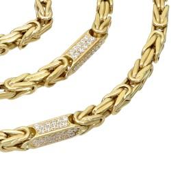 Bling-Bling-Königskette mit Zirkoniabesatz aus 585er Gelbgold (14k)- 65cm lang, 4,5 mm breit, 31g