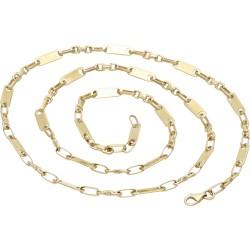 sehr schlanke Plättchenkette, Steigbügelkette aus 585er (14k) Gold - 60 cm Länge, 4 mm breit